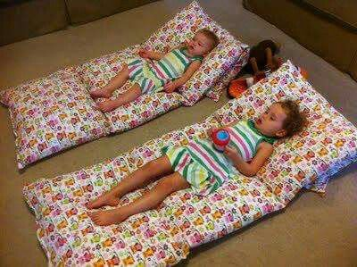 4 pillow with cases sewn together makes one great day mat or roll up sleep over mat, fold under one & make a pillow