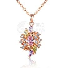 Barbara丨Colorized AAA Cubic Zircon 18K Gold Plated Flower Pendants Necklaces