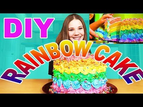 Cool Diy Rainbow Cake From Our Music Video Haschak Sisters Funny Birthday Cards Online Eattedamsfinfo