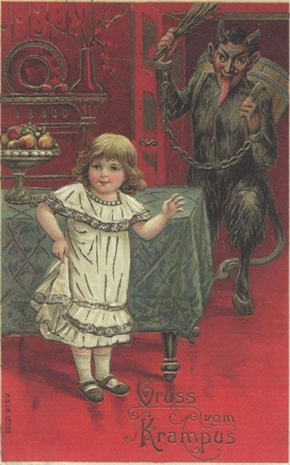 This poor little girl never saw it coming. | 21 Vintage Postcards Of Krampus That Will Haunt Your Dreams: