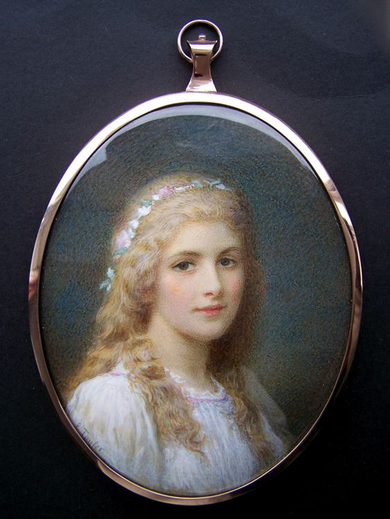 Mrs Emily Heyward Taylor 1860-1952. Exhibited RMS. Portrait miniature of a beautiful young lady. Signed: E Taylor.:
