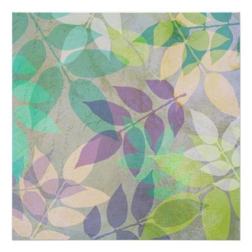 Reflejo de la hoja (Aquas, verdes, lavandas) Póster