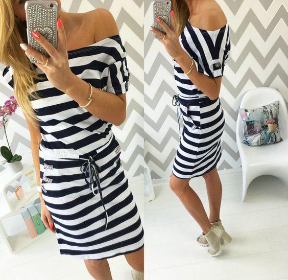 Neu Damen Midikleid Kleid Marine Streifen Tunika Sommer Urlaub Made in Italy SML
