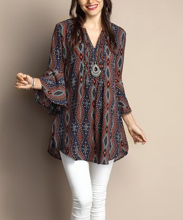 Look what I found on #zulily! Navy Southwest Chiffon Notch Neck Bell-Sleeve Tunic - Plus by Reborn Collection #zulilyfinds