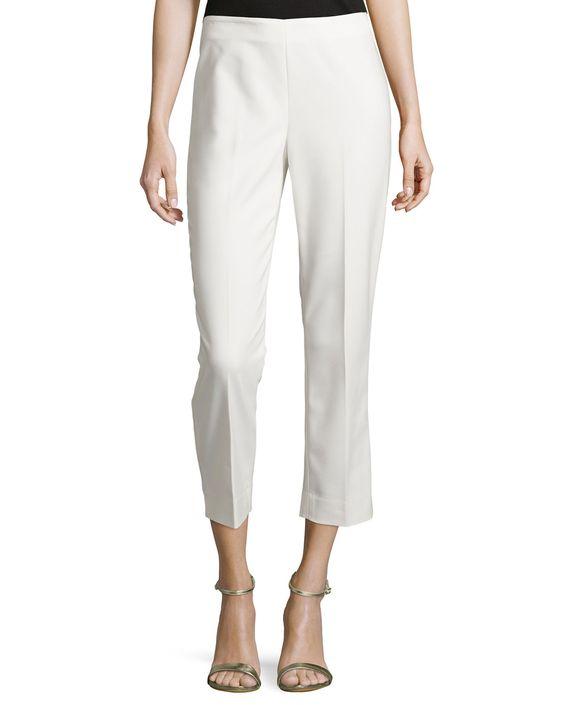 St. John Stretch-Twill Capri Pants, White, Women's, Size: 8, Bw00 ...