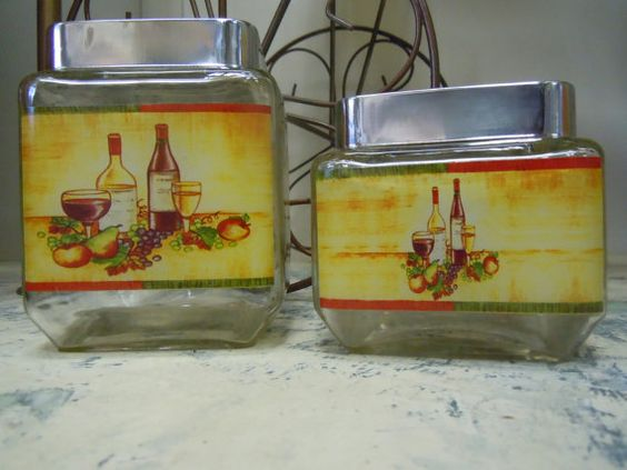 Etsy listing at https://www.etsy.com/listing/174056369/square-glass-vintage-canister-set-metal