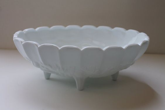 Milk glass White Fruit Bowl on foot Vintage home by StorageStars, $22.00