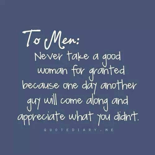 While this is true, I think women need to also remember the EXACT SAME THING can and DOES apply to their man. Don't expect to be treated like a queen if you refuse to treat your man like a prince.
