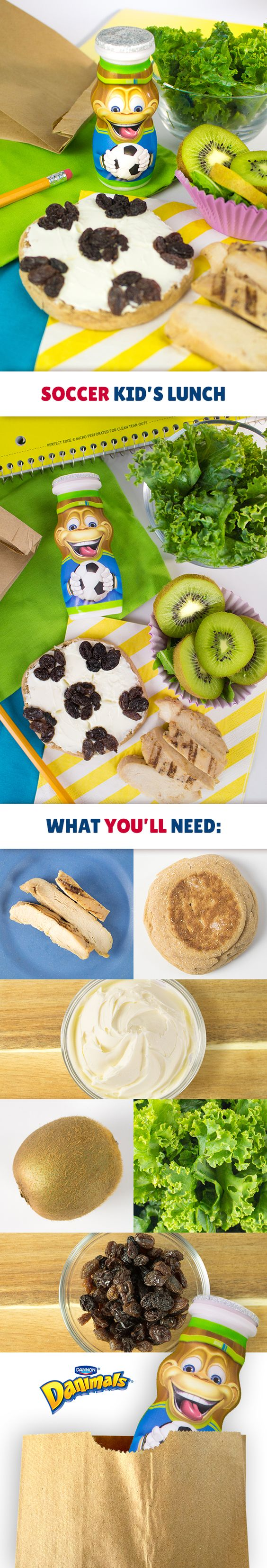 Here's a winning kid's lunch idea. Make a soccer ball by spreading low-fat cream cheese on a whole wheat English muffin, and add raisins to create the ball pattern. Pair it with grilled chicken slices, a mixed green salad and kiwi slices for a healthy, kid-friendly lunch. Kick up this soccer themed lunchbox idea by adding a Soccer Danimals® Smoothie.