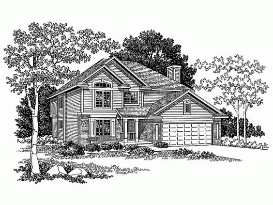 New American House Plan with 2118 Square Feet and 4 Bedrooms(s) from Dream Home Source | House Plan Code DHSW09073