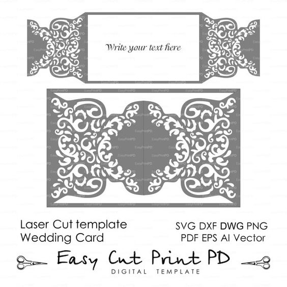 wedding invitation pattern card template shutters gates doors lace folds svg dxf ai eps png. Black Bedroom Furniture Sets. Home Design Ideas