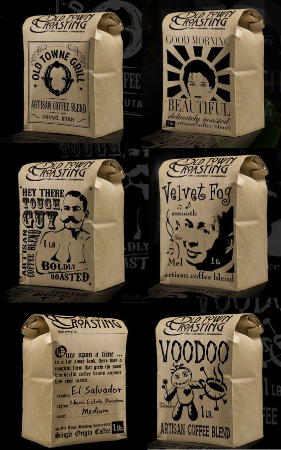 I love the packaging for the Old Town Roasting Company's Artisan Coffees in Orange County.