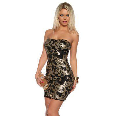 Zauberhaftes Bandeau Kleid Abendkleid mi Pailletten Muster