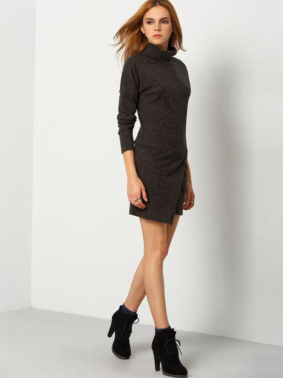 Grey High Neck Bodycon Dress