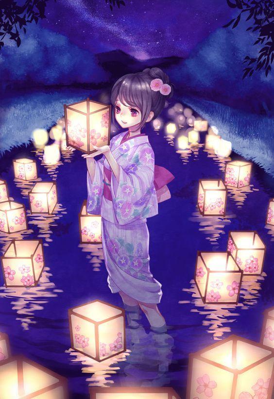 灯籠流し by Maca [pixiv]: