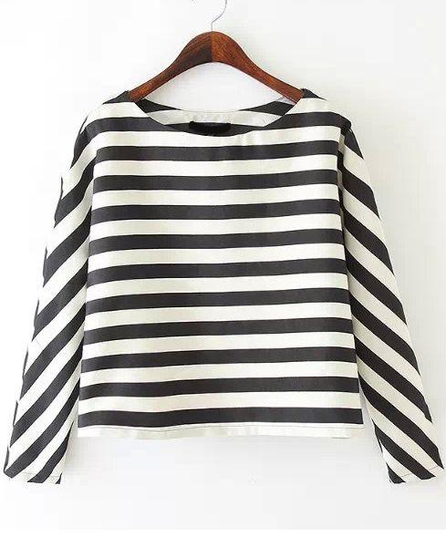 Black White Long Sleeve Striped Crop Blouse 20.33