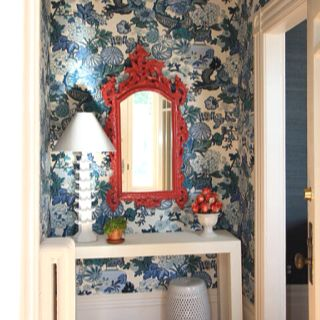 Chiang Mai dragon blue wallpaper by Schumacher ... For bathroom??