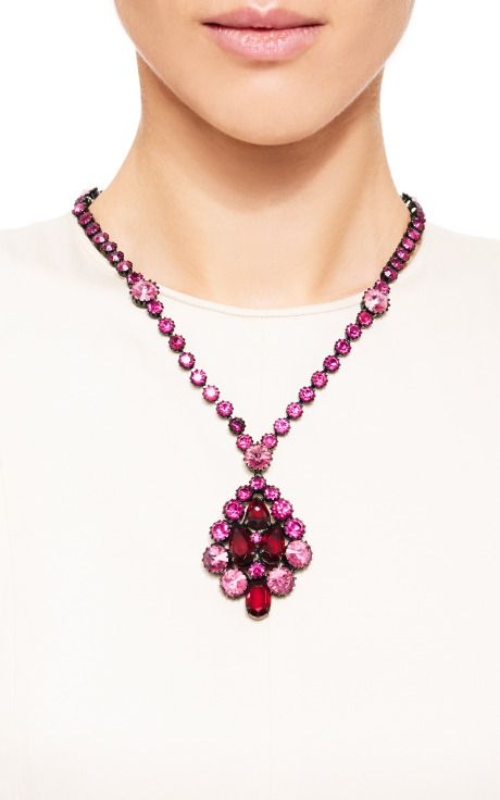 1960'S Unsigned Ruby, Fuchsia, And Pale Pink Rhinestone Pendant Necklace by Carole Tanenbaum for Preorder on Moda Operandi