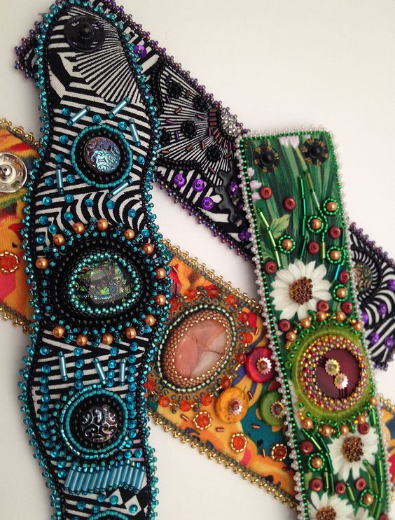 .: Fabric Embellish cuffs using material pattern to embellish with beads