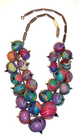 by Mazel Tov, beaded necklace made of polymer clay beads