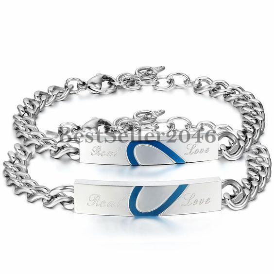Damen Herren Partner Armband Gravur Panzer Armkette Armreif Silber Blau Love