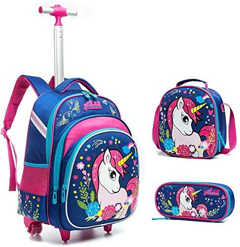 New Meetbelify 3pcs Rolling Backpack Girls Lunch Bag Pencil Case