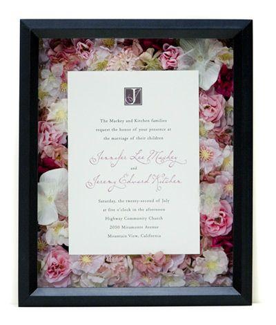Wedding shadow box with layered flowers