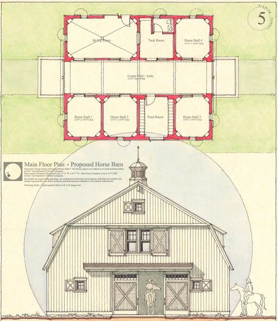 Design Drawing For A Horse Barn In MassachusettsHand Drawn Pen Ink On Yellow Tracing Paper And Rendered Both Sides With Marker Prism