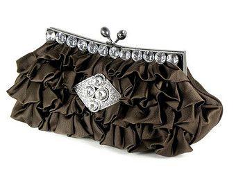 Damas de honor de nupcial embrague, embrague marrón, embrague, bolso de noche marrón, Rhinestone embrague, accesorios de la…