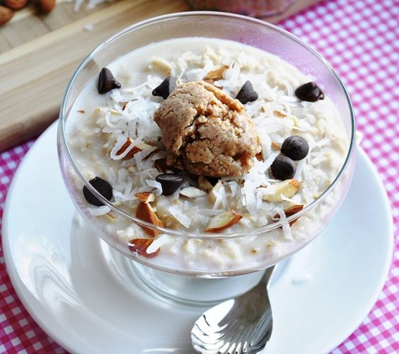 Almond Joy Oatmeal - LITERALLY eating this as I pin it!  So yummy and actually beneficial for you!