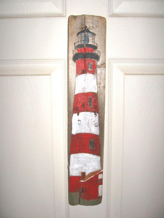 Assateague Island Lighthouse VA Painting on Driftwood by Susan Thau