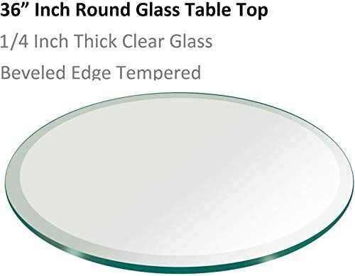 Beautiful 36 Inch Round Glass Table Top 1 4 Thick Tempered Beveled Edge By Fab Glass And Mirror Living In 2020 Round Glass Table Glass Top Table Round Glass Table Top