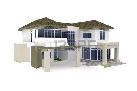 3D Haus isolated on White gerendert generic