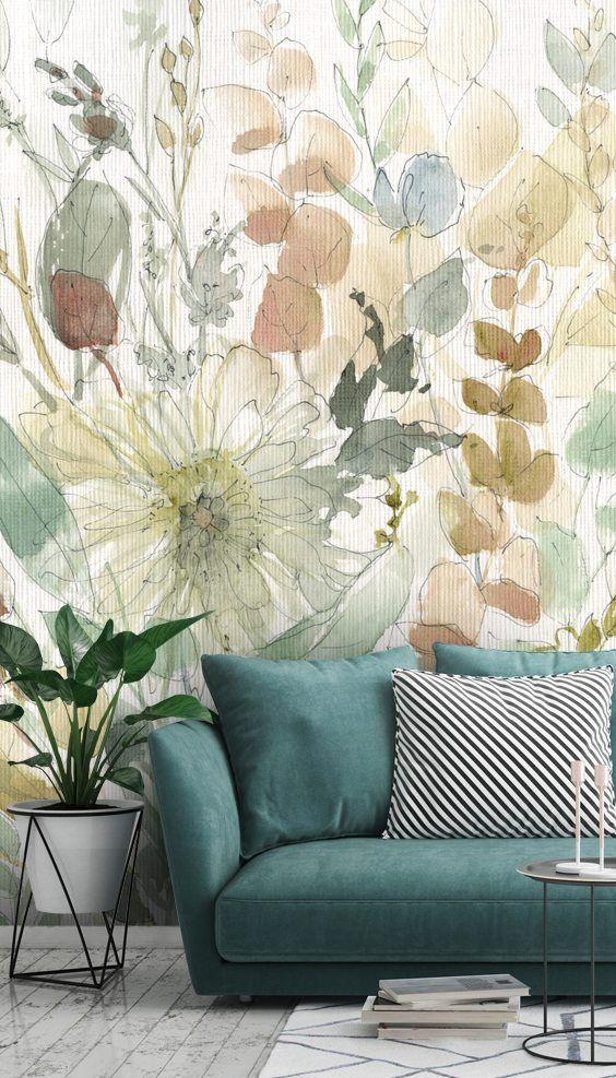 Floral Wallpaper Floral Wallpaper Wallpaper Living Room Wall Murals