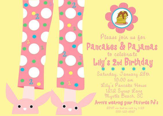 Pancakes & Pajamas invite - cute illustration
