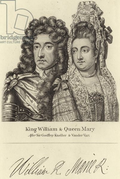 King William and Queen Mary (engraving), Kneller, Godfrey (1646-1723) (after) / Private Collection / © Look and Learn / Elgar Collection / Bridgeman Images