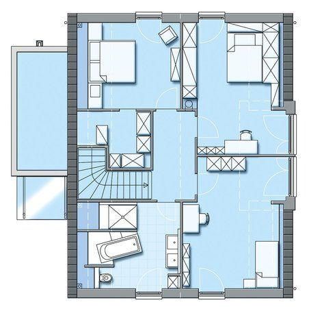 floor plan passive house variant 45 176 from hanse haus passivhaus projects pinterest. Black Bedroom Furniture Sets. Home Design Ideas