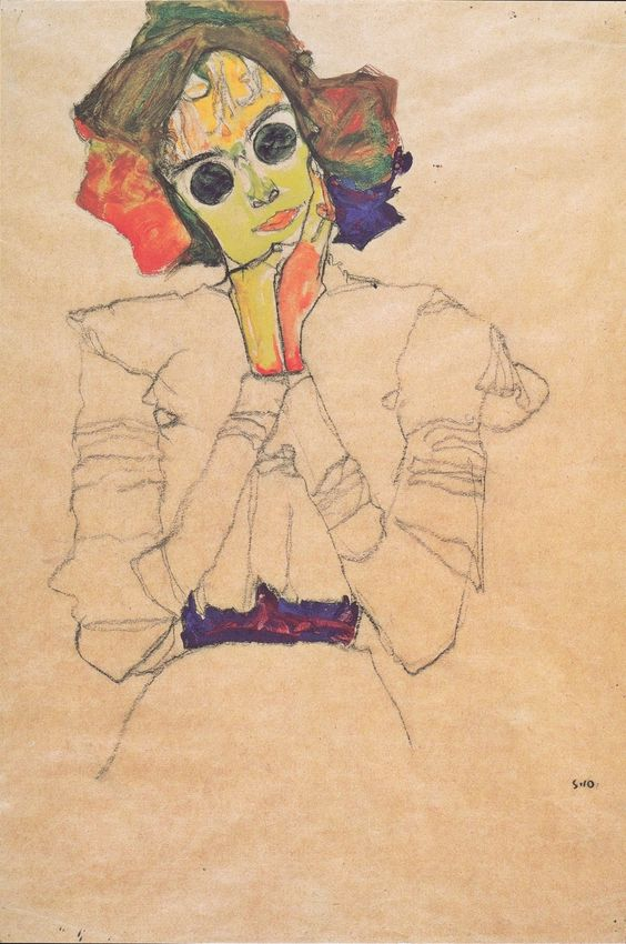 Mädchen mit Sonnenbrillen - Egon Schiele (1910)  I'd go to Vienna just to see his paintings in person.  And cuz Vienna looks awesome.