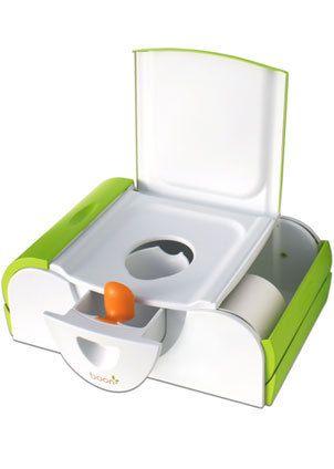 Modelo de penico moderninho: espaço para guardar o papel, espaço para colocar revistinhas e gavetinha de limpeza.