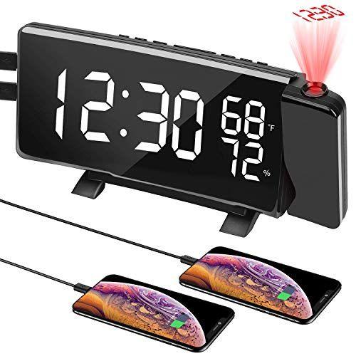 Reveil Projecteur Plafond KKmoon Reveil Projecteur Plafond Cube Horloge de Projection Multifonctionnelle Led R/étro-/éclairage Color/é R/éveil /électronique Rapport Vocal avec Fonction Thermo Snooze