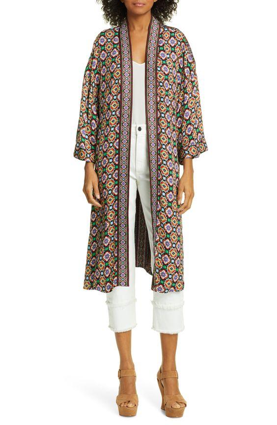Women S Alice Olivia Lynn Print Mid Length Kimono Size X Small Small Brown Kimono Alice Olivia Mid Length