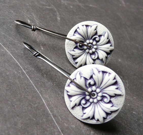 Porcelain jewelry components on artisan earrings from The Rabbit Muse blog. Created by artist Nancy E. Schindler.