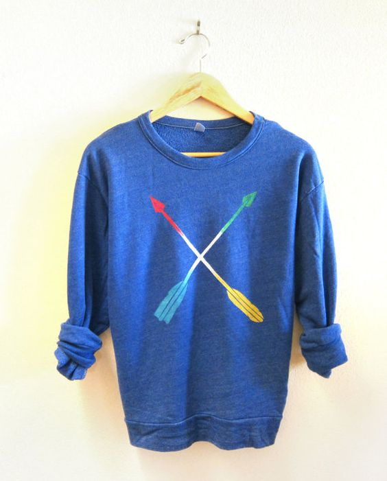 Striped Tribal Arrows Drop Shoulder Hand Stenciled Crew Neck Sweater in Sapphire Blue Heather and Primary Colors - XS S M L XL. $54.00, via Etsy.
