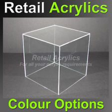 25cm CLEAR acrylic display BOX / CUBE – Tray Plinth Perspex Retail Display NEW