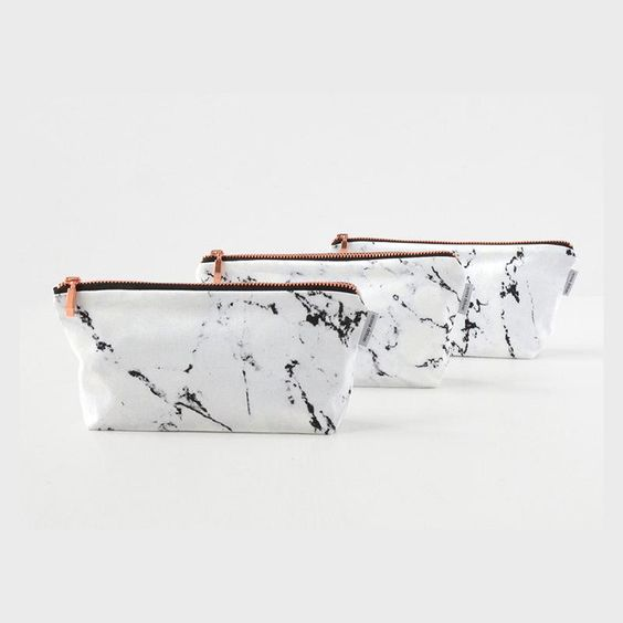 15 Cool Travel Bags - Renna Deluxe Marble & Copper Pouch Case Makeup Bag ($19.55)