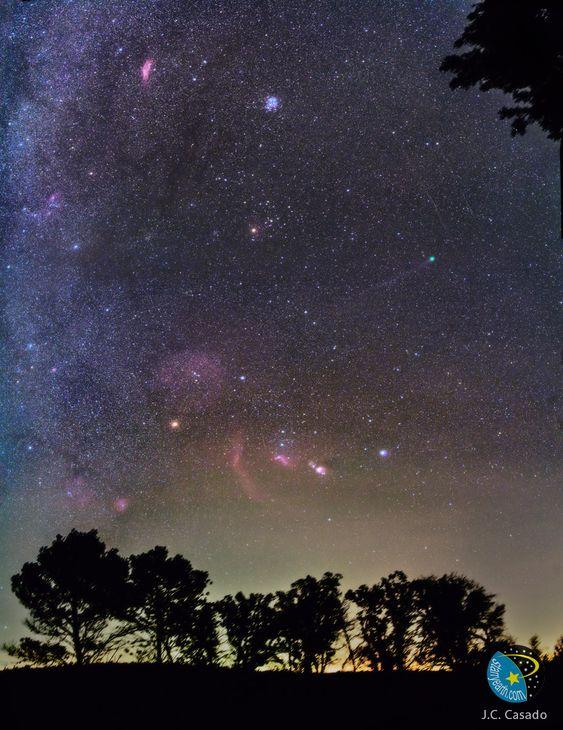 Cette image donne beaucoup à voir. Entre la ceinture d'Orion, la nébuleuse du même nom, les Pléiades, les brillantes étoiles Bételgeuse et Rigel, la nébuleuse Californie, la boucle de Barnard et la comète Lovejoy, il y a de quoi faire. Les étoiles formant la ceinture d'Orion sont quasiment à la verticale au centre de l'image, la plus basse baignant dans la nébuleuse de la Flamme. À gauche de la ceinture se trouve l'arc rouge de la boucle de Barnard, suivi par l'orange Bételgeuse. Sur la ...