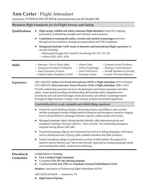 Flight Attendant Resume Sample Flight Attendant Resume Flight