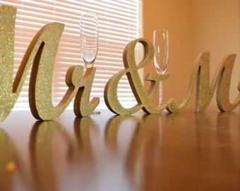 MR & MRS NAME wedding sweetheart table letters by BrentsWorkShop