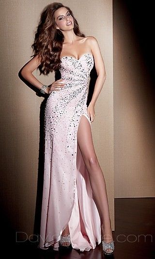 A-Line Strapless Long Elastic woven satin Prom Dress