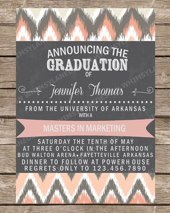 Graduation Announcement, Graduation Invitation, Ikat, Pink, Yellow, College, High School, Personalized Announcement, Printed, Printable on Etsy, $15.00